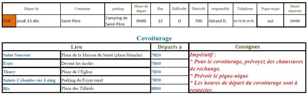 Randonnée du jeudi 13 décembre 2018 @ Camping de Saint-Père | Saint-Père | Bourgogne Franche-Comté | France