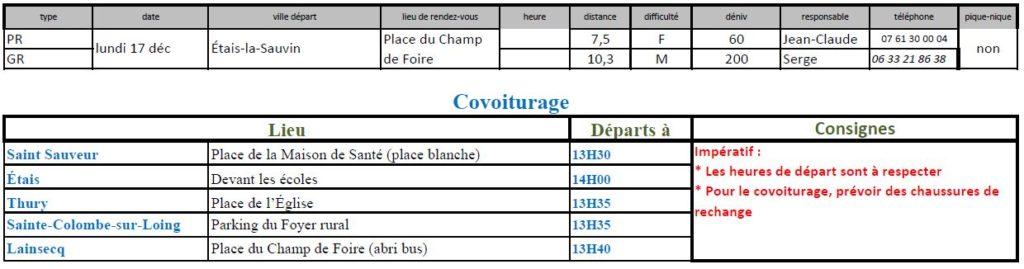 Randonnées du lundi 17 décembre 2018 @ Place du Champ de Foire | Étais-la-Sauvin | Bourgogne Franche-Comté | France