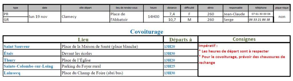 Randonnées du lundi 19 novembre 2018 @ Place de l'Abattoir à Clamecy | Clamecy | Bourgogne Franche-Comté | France