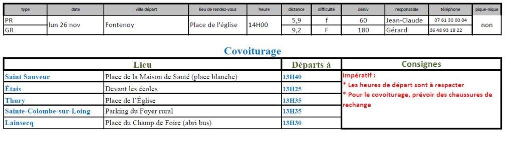 Randonnées du lundi 26 novembre 2018 @ Place de l'église à Fontenoy | Fontenoy | Bourgogne Franche-Comté | France