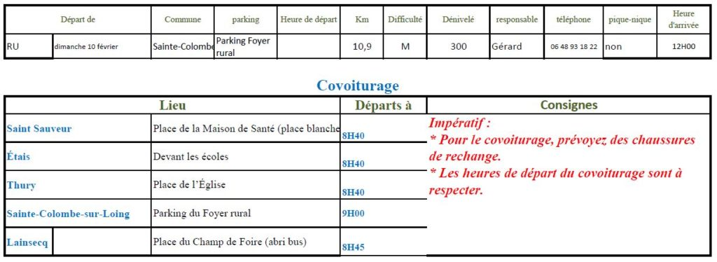 Randonnée du dimanche 10 février 2019 @ Foyer rural de Sainte-Colombe-sur-Loing | Sainte-Colombe-sur-Loing | Bourgogne-Franche-Comté | France