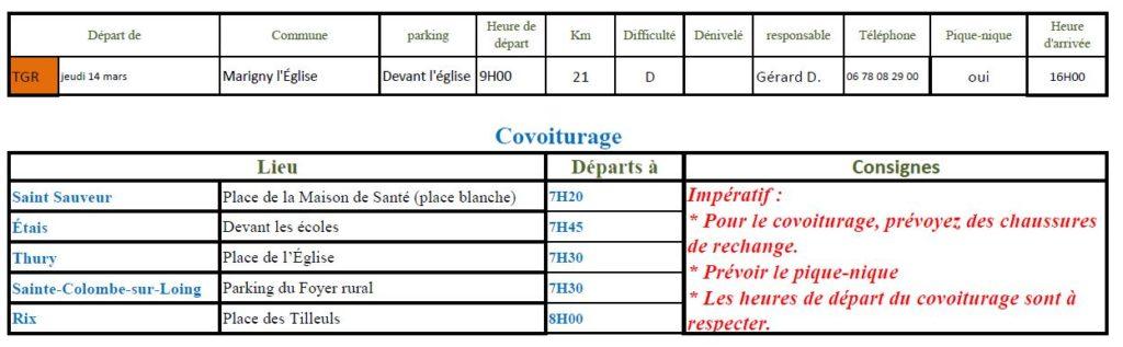 Randonnée du jeudi 14 mars 2019 @ Devant l'église de Marigny   Marigny-l'Église   Bourgogne-Franche-Comté   France