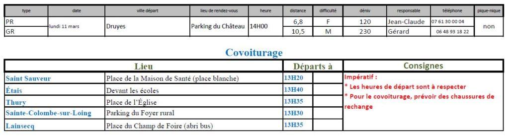Randonnées du lundi 11 mars 2019 @ Parking du château de Druyes   Druyes-les-Belles-Fontaines   Bourgogne-Franche-Comté   France