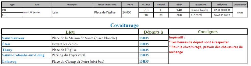 Randonnées du lundi 28 janvier 2019 @ Place de l'église de Lain | Lain | Bourgogne-Franche-Comté | France