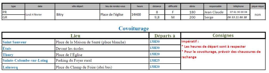 Randonnées du lundi 4 février 2019 @ Place de la salle des fêtes de Bitry | Bitry | Bourgogne-Franche-Comté | France