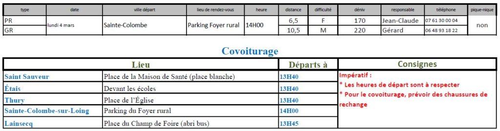 Randonnées du lundi 4 mars 2019 @ Parking du foyer rural de Sainte-Colombe   Sainte-Colombe-sur-Loing   Bourgogne-Franche-Comté   France