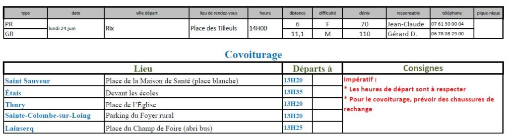 Randonnées du lundi 24 juin 2019 @ Place des Tilleuls à Rix   Rix   Bourgogne-Franche-Comté   France