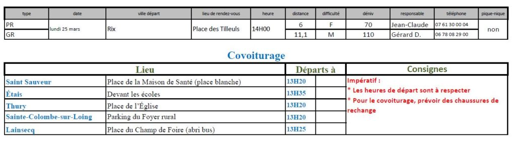Randonnées du lundi 25 mars 2019 @ Place des Tilleuls à Rix | Rix | Bourgogne-Franche-Comté | France