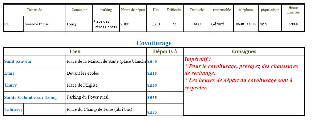 Randonnée du dimanche 12 mai 2019 @ Place des Frères Genêt à Toucy | Toucy | Bourgogne-Franche-Comté | France