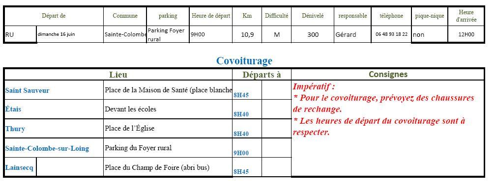 Randonnée du dimanche 16 juin 2019 @ Parking du Foyer rural | Sainte-Colombe-sur-Loing | Bourgogne-Franche-Comté | France