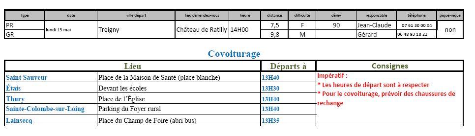 Randonnées du lundi 13 mai 2019 @ Château de Ratilly | Treigny | Bourgogne-Franche-Comté | France