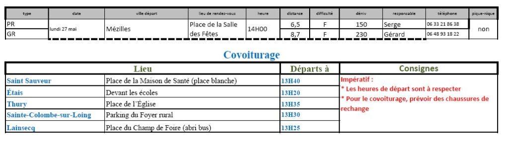 Randonnées du lundi 27 mai 2019 @ Parrking salle des fêtes de Mézilles | Mézilles | Bourgogne-Franche-Comté | France