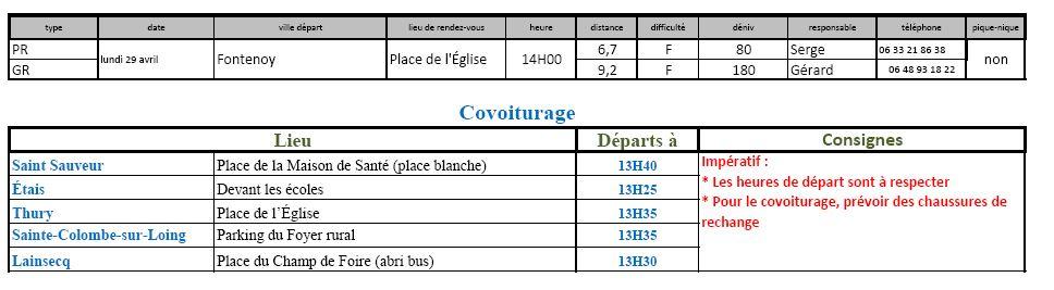 Randonnées du lundi 29 avril 2019 @ Place de l'église à Fontenoy | Fontenoy | Bourgogne-Franche-Comté | France