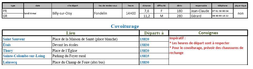 Randonnées du lundi 6 mai 2019 @ Fondelin | Billy-sur-Oisy | Bourgogne-Franche-Comté | France