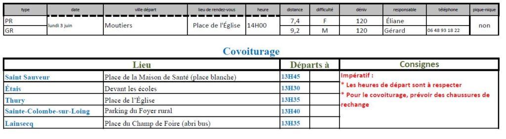 Randonnées du lundi 3 juin 2019 @ Place de l'église à Moutiers | Moutiers-en-Puisaye | Bourgogne-Franche-Comté | France