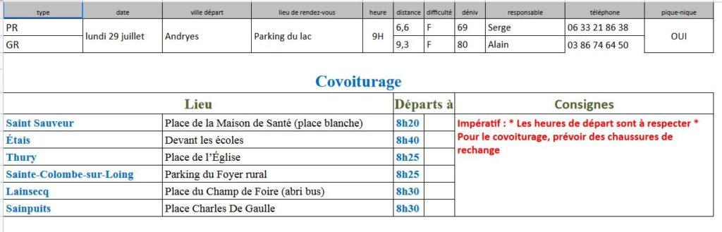 Randonnées du lundi 29 Juillet 2019 @ Parking du Lac - Andryes | Andryes | Bourgogne-Franche-Comté | France