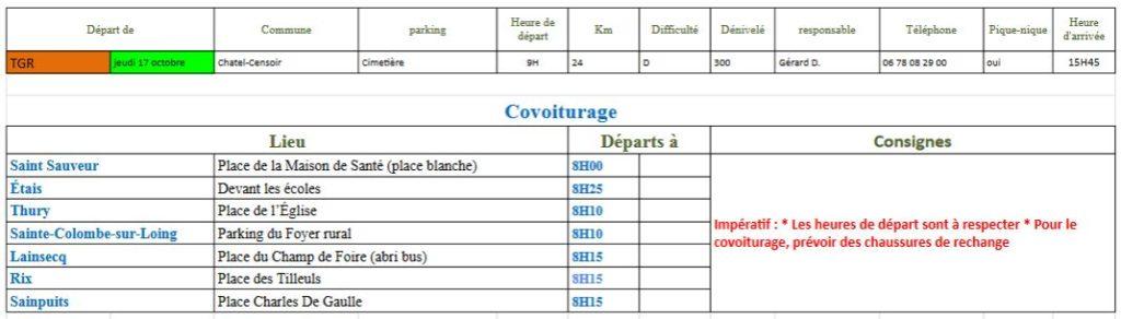 Randonnée du jeudi 10 octobre 2019 @ Cimetière de Chatel-Censoir | Châtel-Censoir | Bourgogne-Franche-Comté | France