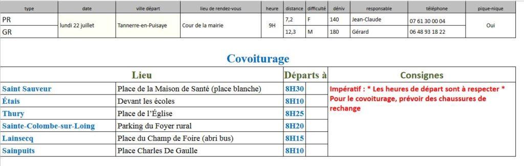 Randonnées du lundi 22 juillet 2019 @ Cour de la Mairie de Tannerre | Tannerre-en-Puisaye | Bourgogne-Franche-Comté | France