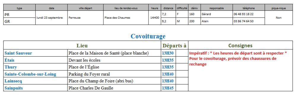 Randonnées du lundi 23 septembre 2019 @ Place de la Chaume de Perreuse | Treigny | Bourgogne-Franche-Comté | France