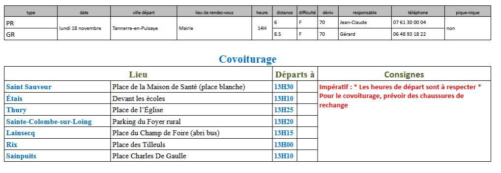 Randonnées du lundi 18 novembre 2019 @ Place de la Mairie de Tannerre | Tannerre-en-Puisaye | Bourgogne-Franche-Comté | France