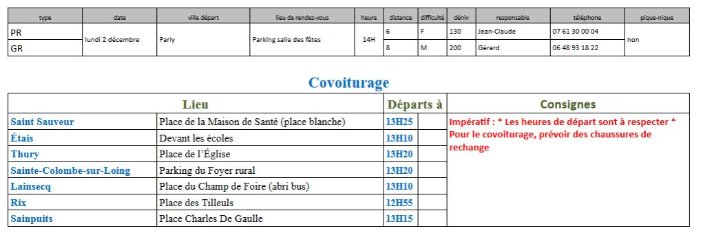 Randonnées du 2 décembre 2019 @ Parking Salle polyvalente | Parly | Bourgogne-Franche-Comté | France