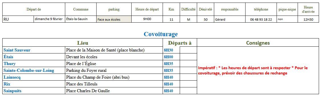 Randonnée du dimanche 9 février 2020 @ Place du Champ de Foire d'Étais | Étais-la-Sauvin | Bourgogne-Franche-Comté | France