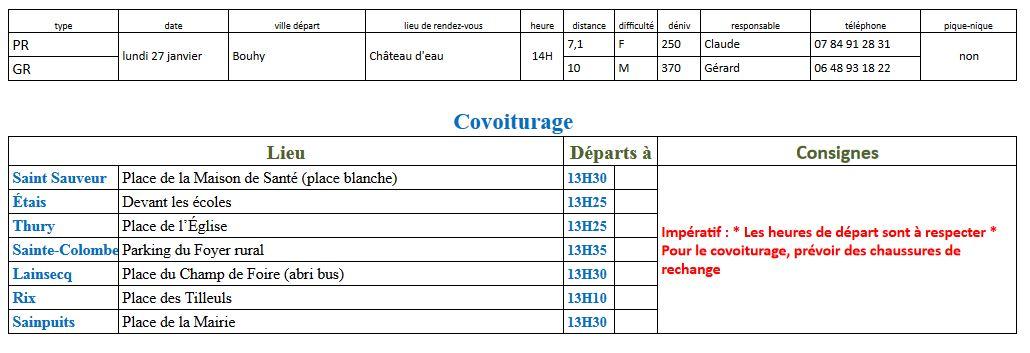 Randonnées du lundi 27 janvier 2020 @ Place du Château d'eau de Bouhy | Bouhy | Bourgogne-Franche-Comté | France