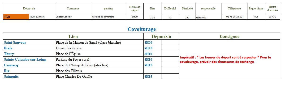 Randonnée du jeudi 12 mars 2020 @ Parking du cimetière de Chatel-Censoir | Châtel-Censoir | Bourgogne-Franche-Comté | France