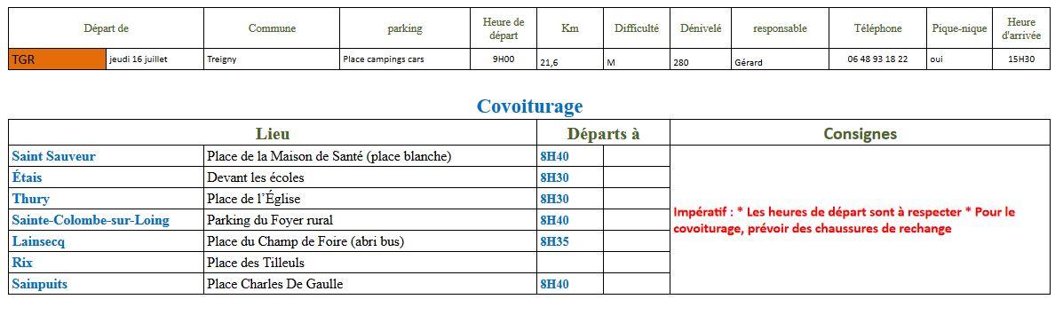 Randonnée du jeudi 16 juillet 2020 @ Parking des campings-cars | Treigny | Bourgogne-Franche-Comté | France