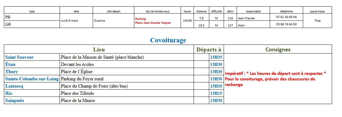 Randonnées du lundi 9 mars 2020 @ Parking Place Jean Goutte Toquet | Ouanne | Bourgogne-Franche-Comté | France