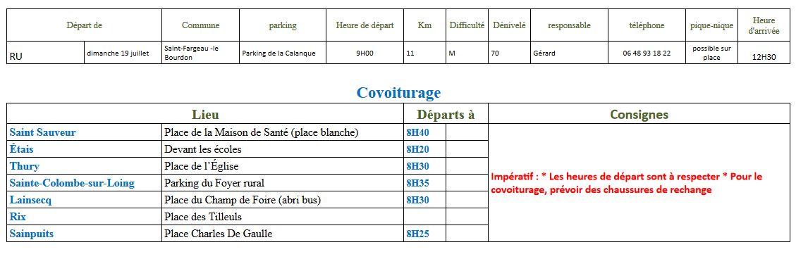 Randonnée du dimanche 19 juillet 2020 @ Parking de la Calanque au Bourdon | Saint-Fargeau | Bourgogne-Franche-Comté | France