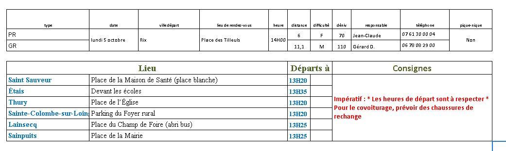 Randonnées du lundi 5 Octobre 2020 @ Place des Tilleuls | Rix | Bourgogne-Franche-Comté | France