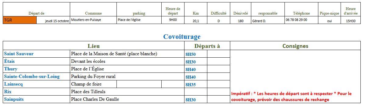 Randonnée du Jeudi 15 Octobre 2020 @ Place de l'église de Moutiers | Moutiers-en-Puisaye | Bourgogne-Franche-Comté | France