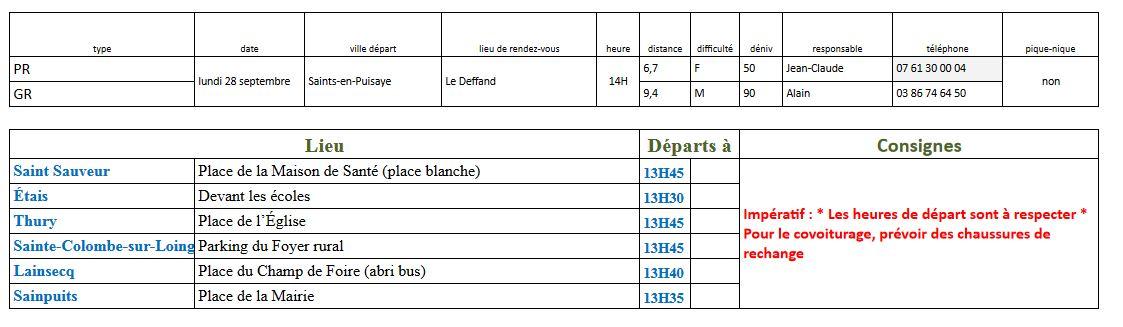 Randonnées du lundi 28 septembre 2020 @ Le Deffand | Saints-en-Puisaye | Bourgogne-Franche-Comté | France