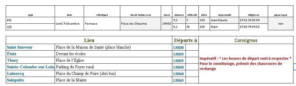 Randonnées du Lundi 7 Décembre 2020 @ Place des Chaumes | Treigny | Bourgogne-Franche-Comté | France