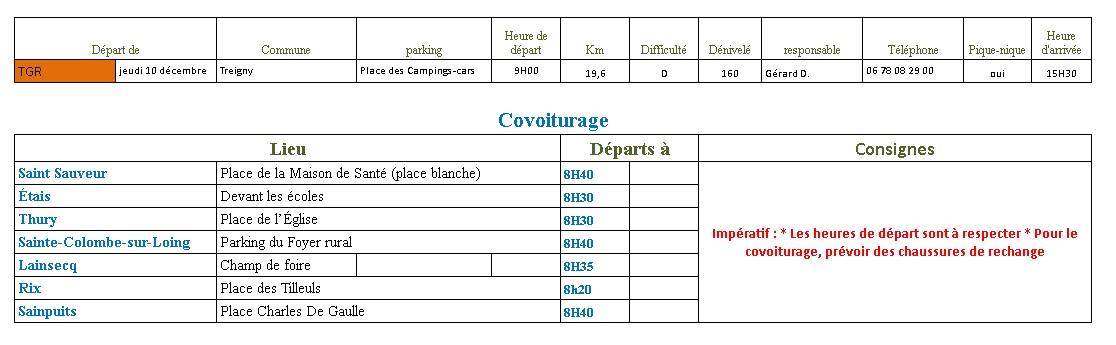 Randonnée du Jeudi 10 Décembre 2020 @ Place des camping-cars | Treigny-Perreuse-Sainte-Colombe | Bourgogne-Franche-Comté | France